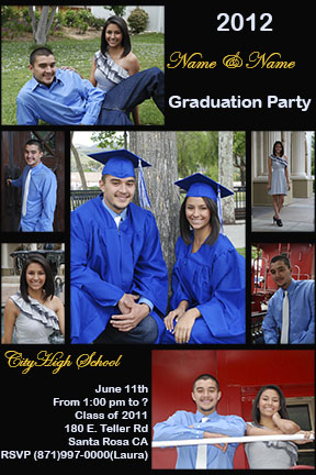 Invitation Card for High School Graduation Party. By www.AdanPhotography.com Located in Fillmore, Ventura County California.Seniors